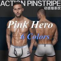 Pink Hero Sexy boxers Striped Underwear Men Boxer Cuecas Boxer Shorts Cotton 6PC / lot Pull in 6Colors M.L.XL.XXL Hot Wholesale