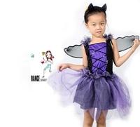 Party Costumes Purple Bat Girl Children stage Dance skirts Kids Halloween Chrismas festival cosplay Costume Fancy dress kits