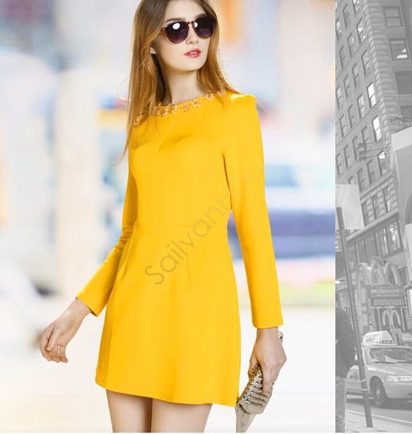Autumn Winter Crystal Dress 2015 New European Brand Women Slim Thin Long-Sleeved Dresses Beaded Dress Red/Yellow 18(China (Mainland))