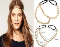 Fashion Gold Round Metal Head Chain Headpiece Gold Plated Round Metal Elastic Hair Band Headband For Girls Women