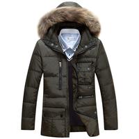 2014 Winter Casual Canada Mens Fur Collar Down Coat Outwear Man Jacket Ropa Hombre Winter Jacket Men Parka Coats Plus Size