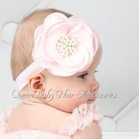 20pcs/lot Layered Flower Matching Pearl Baby Girl Headband Luxe Headband