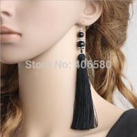 Free shipping,Chinese style temperament black longer tassel earrings