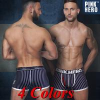 Pink Hero Sexy Striped Boxer Underwear Men Cueca Men Boxer Shorts Cotton 4 PC / lot Pull in 4 Colors M.L.XL.XXL New Arrival Hot