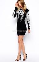 Hot!!! Women Sexy Mini Dress Vintage Printed Long Sleeve Dress Elegant Stretchy Dress B22 CB031589
