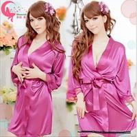 Wholesale latest lace shiny smooth multicolor bathrobe sexy clothing + Dingzi pants pajamas