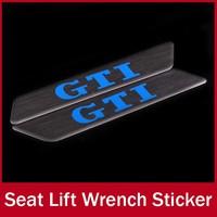 2x Stainless Steel Seat Lift Wrench Sticker Handle Lift Insert Sticker for VW Golf 6 GTI Jetta MK5 Skoda Octavia Decorative Trim