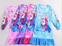 2014 New Girls Frozen Princess Elsa Anna Olaf T shirt long sleeve girl tees Top shirt Girl's Sleepwear Night skirt