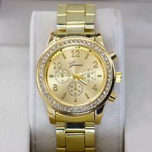 moda ginevra jy3025 5 colori vestito le donne orologi in oro acciaio pieno analogico al quarzo orologi da polso relogio feminino signore strass(China (Mainland))