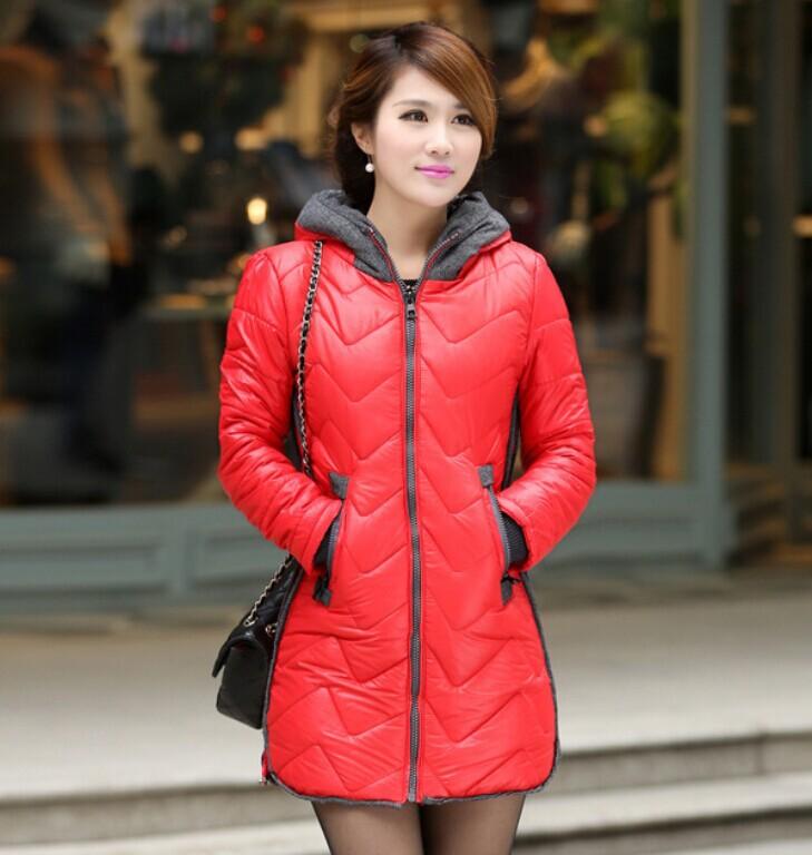 Free Shipping 2014 New Arrival Kafe Women's Down Jacket Winter Coat Warm Padded Parka Hoody Overcoat Outer wear Zipper WJ2081(China (Mainland))