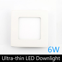 Ultra thin design 6W LED ceiling recessed grid downlight / square panel light 120mm, 1pc/lot free shipping
