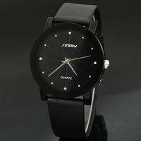 Classical SINOBI Diamond Crystal Black Case Elegant All Black Men Quartz Wrist Gift Dress Men's Leather Strap Watch 981