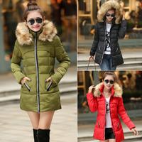 New 2014 Thickening Long Winter Jacket Women Casual Fleece Fur Hooded Parka Cotton-padded Winter Coat Women Plus Size