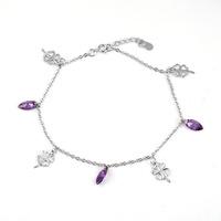 925 sterling silver anklets wholesale Korean fashion female models crystal Four Leaf Clover anklet