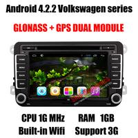 GLONASS Android 4.2.2 Car DVD GPS for VW Volkswagen Polo Golf Passat Bora Skoda Fabia Seat with Dual Core CPU 1G MHz/RAM 1GB