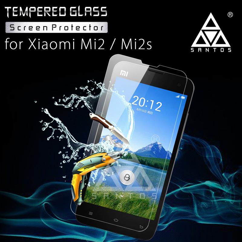 Xiaomi Mi2s ! Screen Protectors Santos brand protective film 0.2mm 2.5D Tempered Glass Screen Protectors for Xiaomi Mi2s !(China (Mainland))