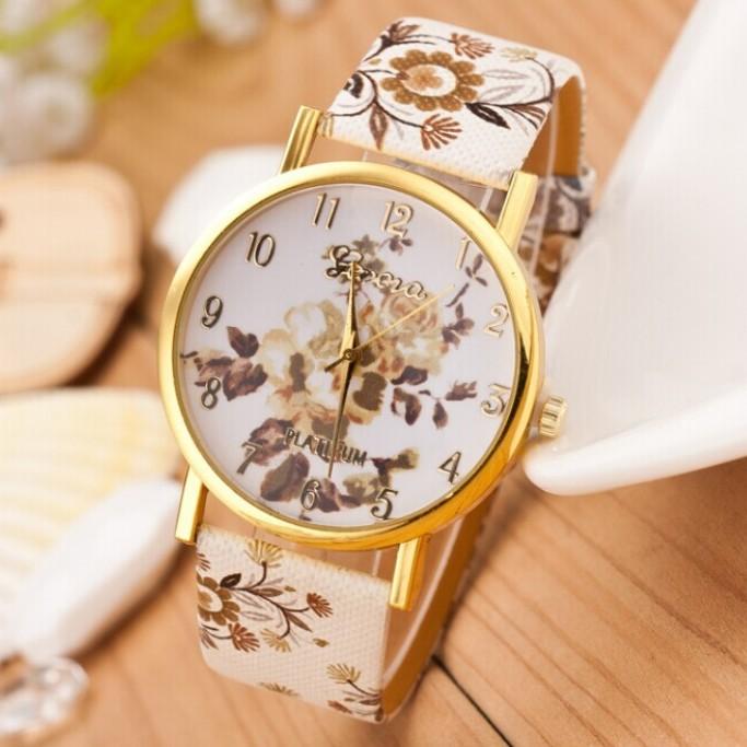 Women Watch 2015 New Fashion Trendy Colorful Flower Quartz Watch Ladies Geneva Watch Popular Style Women Casual Watch Wristwatch(China (Mainland))