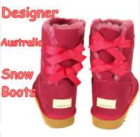 Designer Women Snow Boots Bandage Bow Medium-leg Warm Sweet Flat Heels Candy Color Fashion Ladies Girl Brand Winter Warm Shoes