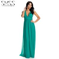 SMSS fashion long design chiffon pleated deep V-neck bohemia one-piece dress