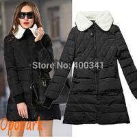 New 2014 women fashion coat cotton padded parka fleece turn down collar outerwear warm black army green drop shipping ST202