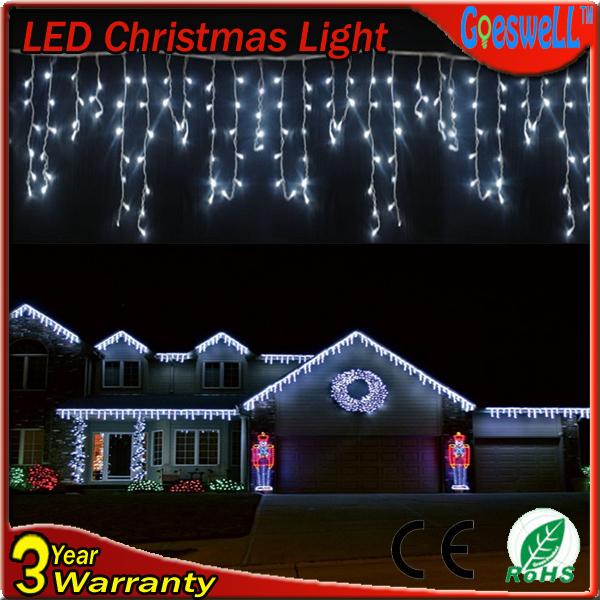 with end plug Icicle LED String Light Christmas Home Party Garden Decoration curtain 4m 96led AC220v EU Plug 10pcs Free Shipping(China (Mainland))