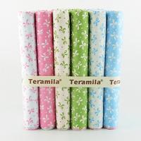 6PCS 45cmx50cm Cute bowtie cotton quilting fabric set patchwork bedding child home textile for sewing tilda W3B6-10