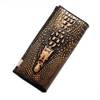 New fashion 3d crocodile genuine leather wallet long  three-dimensional creative Purses card holder Wholesale