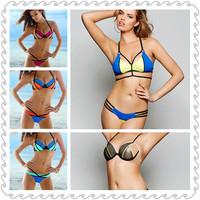 Fashion Brand Designer Patchwork Bikinis Set 2014 New Swimwear Women Push Up Beach Bikini Vintage Swimsuit Sexy Pad Bathing Suit