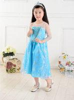 Retail  New 2014  FrozenKids Mesh&Lace Dress For Gril  Elsa Princess Costume Kids Dress Children Clothes