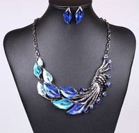 Luxe Vintage Peacock Pendant Choker Necklace Earrings Set Fashion Statement Jewerly Set Party Accessories for Women BJS905483