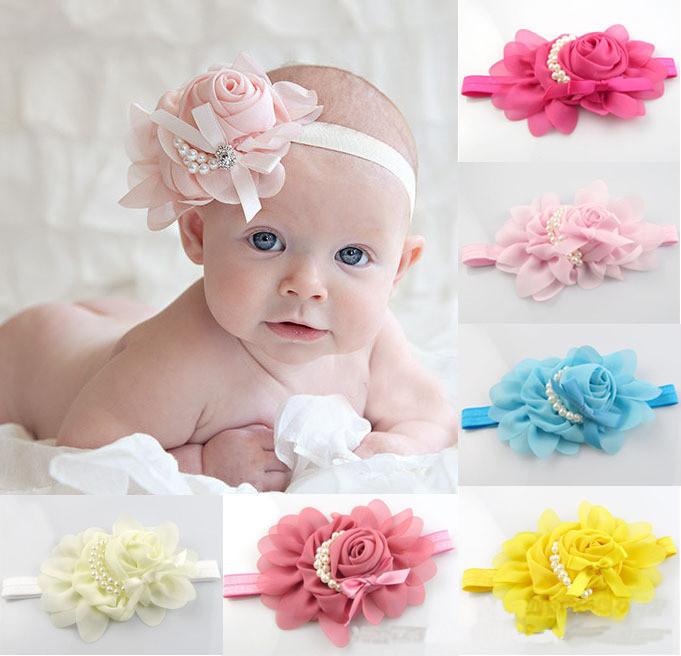 2014 New rose pearl flower hair accessories headwear infant children baby hair headband newborn photography props(China (Mainland))