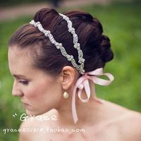 Free shipping 2014 fashion handmade crystal bridal headbands wedding woman hair accessories XH90