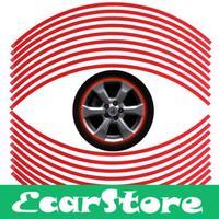 90pcs 6mm Red Car Motorcycle Wheel Rim Reflective Tape Stripe Decal Sticker