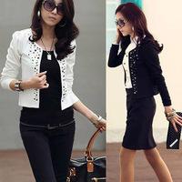 Cozy women clothes Shawl Coat Comfortable leisure slim Wild suit Ms. jacket lady blazers black white WF-667