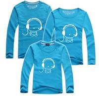 BIG Discount retail earphone music family t shirt long sleeve kids tee dad mum parents t-shirt baby clothes PANYA QCX21