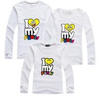 BIG SALE spring autumn i love my family t shirt long sleeve dad mum kids tee parent-child clothes retail PANYA QCX06