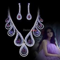 Purple Bridal Wedding Jewelry Sets Peacock Bird Crystal