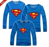BIG Discount Superman t shirt kids dad mom family shirt long sleeve 2014 high quality baby parentage clothes PANYA DBR23