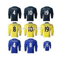 Thai quality kits 14 15 Chelsea long sleeve football jerseys HAZARD FABREGAS home football shirts DIEGO COSTA JERSEY