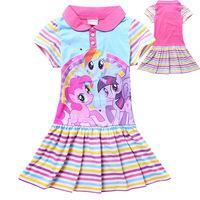 Free shipping! 2014 summer girls dress,Girls cartoon lapel dress,Girls my little pony dress, Girls Striped Dress