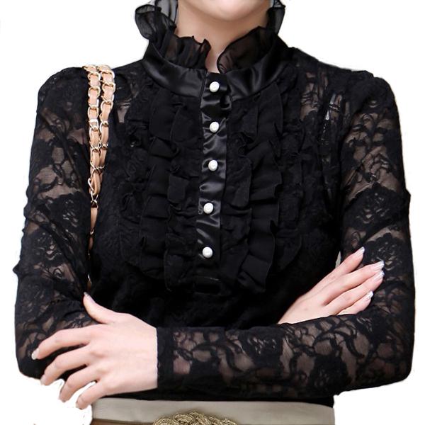 Blusa de renda preto Blusas Blusa de renda plus size XXXXXL XXXXXXL 5XL 6XL Blusas feminina formal Blusa camiseta para roupas femininas(China (Mainland))