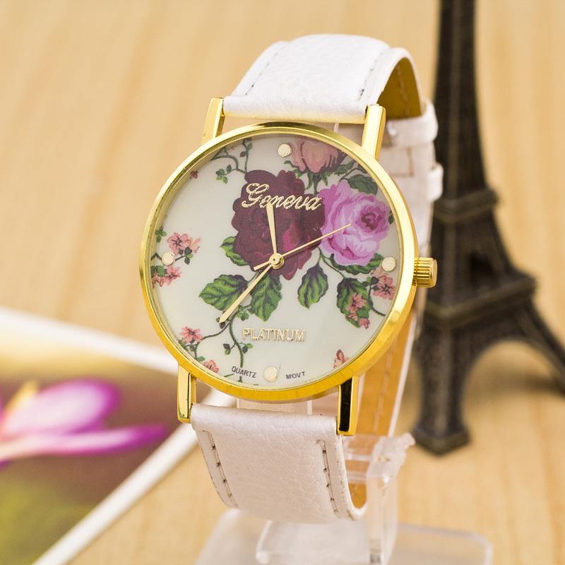 Free shipping New Fashion Geneva Watches Women Floral Quartz Watch Daisy Flower Watch hours Leather Dress wristwatch wholesale(China (Mainland))