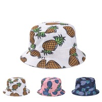 Free Shipping 2014 New Fashion Lovely Summer White Pineapple Printed Bucket Hats For Women/Girls