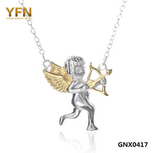 GNX0417 Fashion Cupid Angel Necklace For Women 2014 New Arrival 925 Sterling Silver Disk Jewelry Pendant Necklace Free Shipping