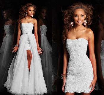 Новинка высокий низкий короткое без бретелек чистый белый свадебное платье свадебное платье со съемным со съемной кристалл кружева squins