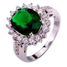 New Fashion Design Green Emerald Quartz 925 Silver Ring Size 6 7 8 9 10 Wholesale Free Shipping For Women Jewelry