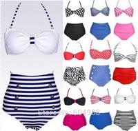 Vintage Women High Waist Bikini Halterneck Swimwear womens bikinis set Swimsuit push up bikini bathing suit