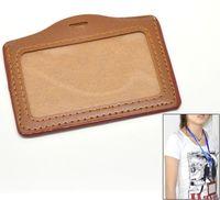 Dorabeads Coffee Horizontal Leatheroid ID Card Badge Holders 10.5x8cm,sold per pack of 10