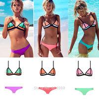 Sexy Women Bikini Set Women Bandage Strapless Triangle Bikini Push-Up Swimsuit Beach Swimwear