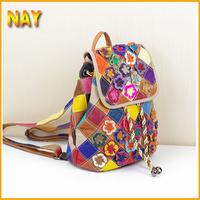New Arival Bohemia 100% Genuine Leather Women Bags Fashion Flower Backpack Ladies Shoulder Bag